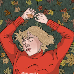 girlinred girlinredfanart wefellinloveinoctober fall art fanart digitalart