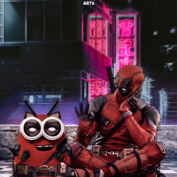 freetoedit minion universal deadpool marvel fanart cute city balcony alienized wallpaper uhd editedwithpicsart