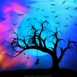 moon fullmoon bluemoon sky prettysky galaxy galaxysky silhouette silhouettes silhouettegirl tree birds bird flyingbirds