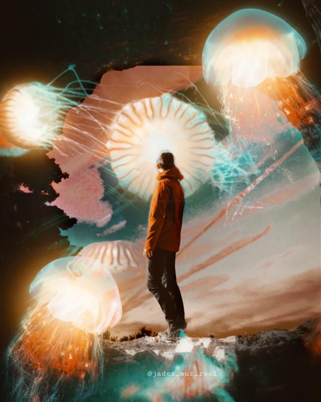 C L I F F    H A N G E R • • • #freetoedit #cliff #man #orange #picsart #picsartedit #papicks #heypicsart #be_creative #madwithpicsart #stayinspired #createfromhome #picsartedit #myedit #space #galaxy #galaxyedit #magic #magical #surreal #surrealism #jellyfish #jellyfishremix