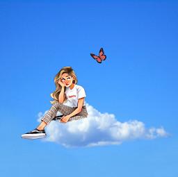 freetoedit cloud butterfly girl blue bluesky