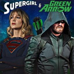arrow stephenamell greenarrow oliverqueen supergirl melissabenoist karazorel karadanvers arrowverse dccomics thecw fanposter freetoedit