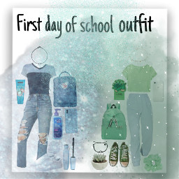 greenaesthetic blueaesthetic collage ootd outfits brandymelville blueoutfit greenoutfit glitter sweatpants jeans firstdayofschool schooloutfit blueandgreen freetoedit