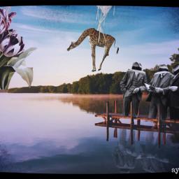 freetoedit myedit surreal surrealism surrealart giraffe tulips men fxeffect maskeffect picsart madewithpicsart