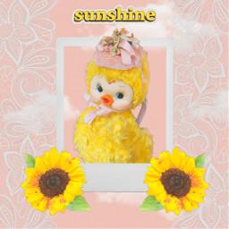 freetoedit kawaii cute kawaiicute aesthetic kawaiiaesthetic vintage vintageaesthetic vintagestyle duck doll rushtondoll sunflower sunshine lace clouds