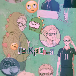 tsukishima haikyuuedits dino greenaesthetic saltyboi picsart like 4upage anime freetoedit