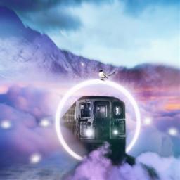 freetoedit imagination fantasyart fantasy moon train sky light bird mountain background
