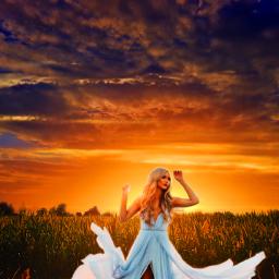 freetoedit myedit madewithpicsart picsart goldenhour beautiful landscape nature woman dress sunset remix