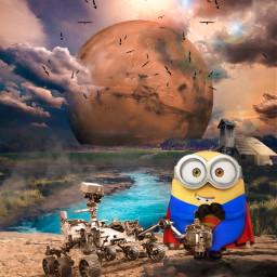 superminion minion superman universal dc fanart space mars nasa robot cloudly alienized wallpaper uhd editedwithpicsart