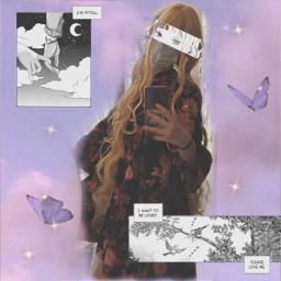 freetoedit manga mangacute cutegirl purple butterfly anime blue mangaedit