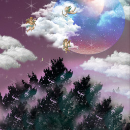 remixit myedit nature moon aesthetic freetoedit sky tree clouds