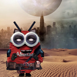 repostifyoulikehim repostifyoulikeit minion deadpool marvel universal fanatt superheroes heroes city unsplash alienized wallpaper uhd redrawn editedwithpicsart freetoedit