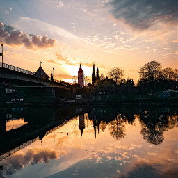 freetoedit sunset city germany lake river