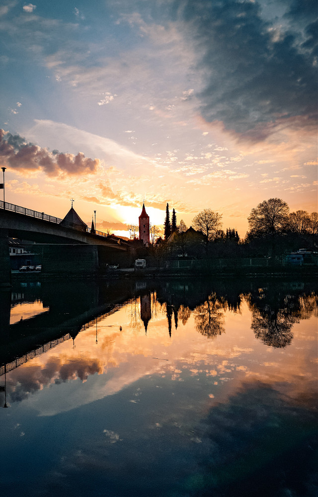 #freetoedit #sunset #city #germany #lake #river