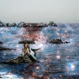 freetoedit sea starrysky mermaid mermaidworld