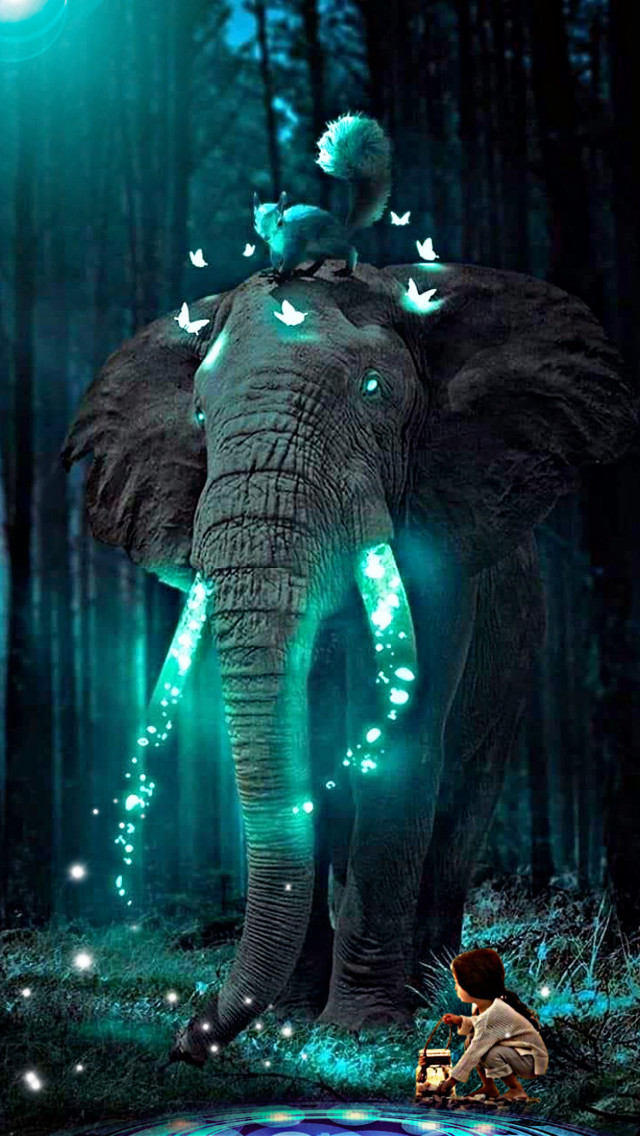 Elephant#kids#night #nature #art