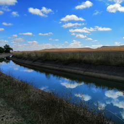 freetoedit skyblue water fields clouds