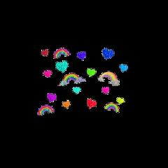 freetoedit aesthetic rainbow heart stickers