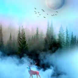 freetoedit fantasyart fantasyworld makebelieve dreamy surreal surrealistic cloudsandsky forest colorful pastelcolors aestheticedit myedit madewithpicsart