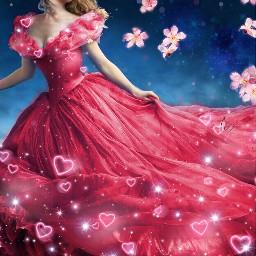 pastelflowers freetoedit cinderella flower sparkle pink dress beautiful night picsart srcpastelflowers