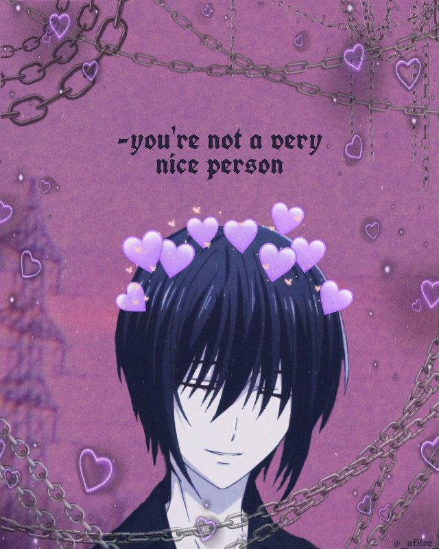🌂•I haven't been active rip :P•🌂  🌂🌂🌂🌂🌂🌂🌂🌂🌂🌂🌂🌂🌂🌂🌂🌂             🌂•Anime: Fruits Basket•🌂          🌂•Character: Akito Sohma•🌂  🌂🌂🌂🌂🌂🌂🌂🌂🌂🌂🌂🌂🌂🌂🌂🌂  🌂•Yes, Akito says that line to Tohru during that frame•🌂  🌂🌂🌂🌂🌂🌂🌂🌂🌂🌂🌂🌂🌂🌂🌂🌂  #akito #akitosohma #fruitsbasket #anime #purpleaesthetic #purple #chains #purplehearts #sky #edgy
