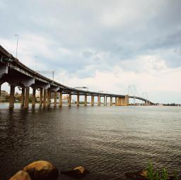 freetoedit bridge coastline thesea waterfront shore mar ocean oceano puente brücke ponte park gazing panoramic