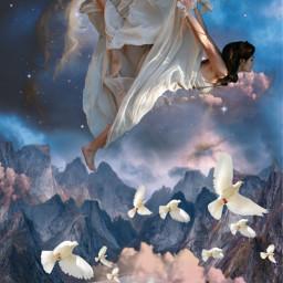 freetoedit fantasy surrealistic woman free flying beautyofnature beautyallaround madewithpicsart myimagination myedit