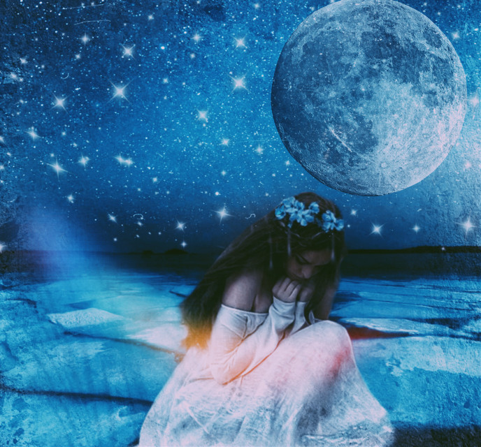 #freetoedit I love this photo. Made with only stickers. #moon #moonaesthetic #aesthetic #stars #mask #stickers #beautifulscenery