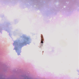 girl stars starry clouds fantasy dream dreamy magical pink sparkles effect magic fantastic lovely beauty beautiful pretty moon fog freetoedit