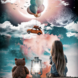 freetoedit children bear moon clouds lantern balloon car flying birds surrealism