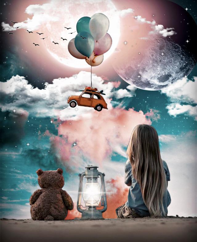 #freetoedit #children #bear #moon #clouds #lantern #balloon #car #flying #birds #surrealism