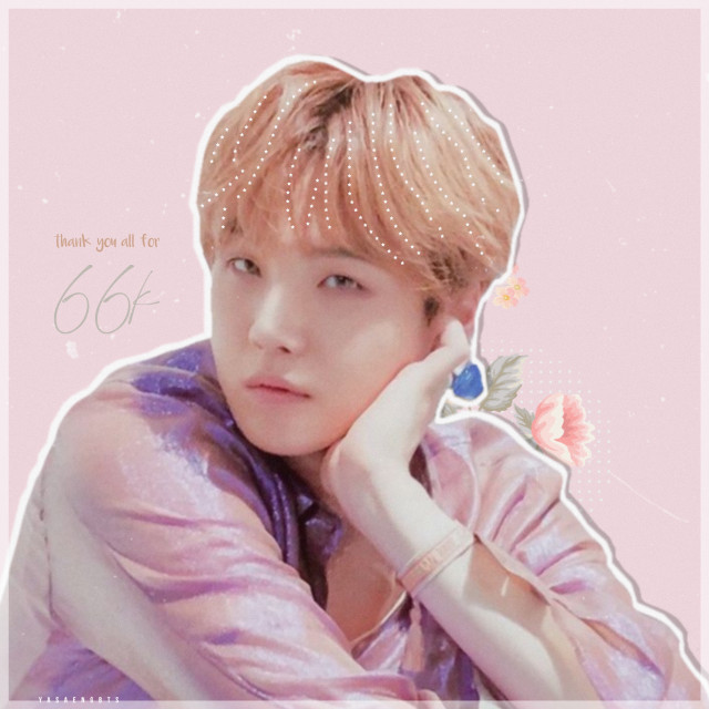 thank you all for 66k followers.   i still can't believe that i have been using this app for about 3 years now, and still continues to be active.     + #minyoongi #yoongi #bts #bangtanboys #btssuga #suga #btsedit #edit #kpop #kpopidol #pastel #simpleedit #flowers    #freetoedit