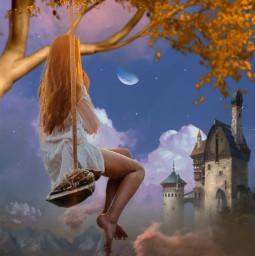 freetoedit fantasy woman swinging castle sky beautyofnature beautyallaround madewithpicsart myimagination myedit