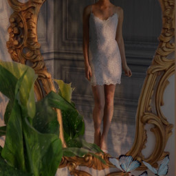 bride bridal wife girl beatiful white mirror freetoedit
