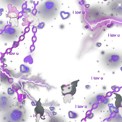 kuromi mymelody mymelodyandkuromi purple shiny edgy emooverlay alt indie softie lightning chain loveu purplehearts purpleaesthetic