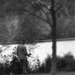 oneperson fisherman sport relaxing calming quiet tranquil lakescape landscape woodland foliage education bodyofwater monochrome black natureportrait beautyinnature desktop fullframe myphotography nikond5600 editwithphotoshopexpress