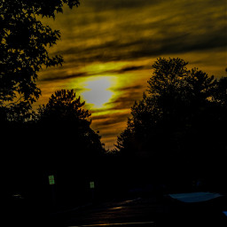 sundown evening dusk beautyinnature natureportrait nightphotography skyperfection cloudperfection multicolored naturesartwork glowing vibrant trees residentialarea quiet peaceful tranquilhashtagthiss fullframe myphotography nikond5600 editwithphotoshopexpress