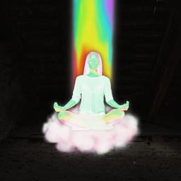 icyx icyxremix woman cloud rainbow light fly sitting dark madewithpicsart picsart remixit interesting art freetoedit unsplash