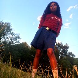 enhanced detailed clouds blue sky sunset goldenhours trees grasses weeds aeropostale jeanshorts white whiteshoes longsocks