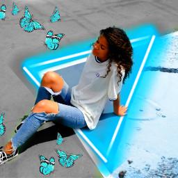 freetoedit blueaesthetic neontriangles maeyedits brusheffect blueaesthetictheme butterflies