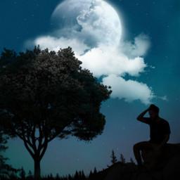 freetoedit silhouette myedit men moon nightsky night alone madewithpicsart araceliss creative