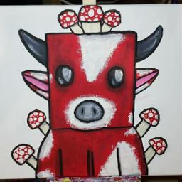 art artist paint painting minecraft minecraftfanart minecraftart mushroomcow mushrooms cow minecraftmushroomcow