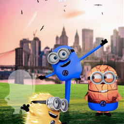 marvel universal fantastic4 minions fanart bengrimm redrichards janerichards johnnystorm heroes superheroes cute city unsplash newyork alienized wallpaper uhd redrawn editedwithpicsart freetoedit