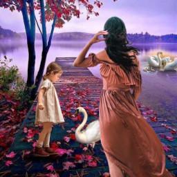 freetoedit myedit fantasy landscape swan madewithpicsart makeawesome nature panorama auntumn araceliss