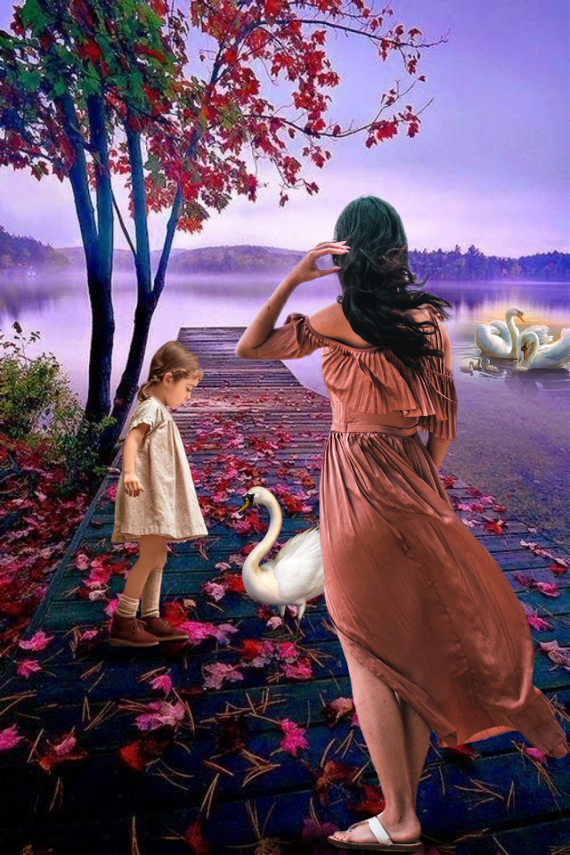 Good night😘 #myedit #freetoedit #fantasy #landscape #swan #madewithpicsart #makeawesome #nature #panorama #auntumn #araceliss