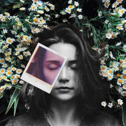 girl blackandwhite polaroid 2effect flowers eyeclosed freetoedit