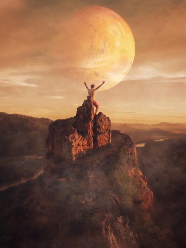 #joy #cliff #sunset #moon #planet
