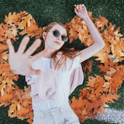 листья сентябрь осень пиксарт девушка picsart leaves autumn girl