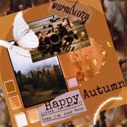 challenge fall autumn aesthetic warmth coziness cozy colorscheme monochrome sticker butterfly woods flower warmcolor warmtones brown freetoedit