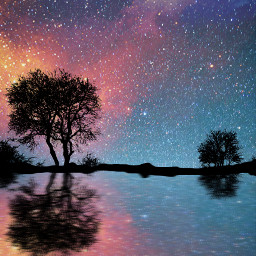 silhouette trees galaxy reflection reflectioninwater interesting colour motionblureffect freetoedit